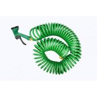 Шланг витой садовый ПВХ 12ммх15м в комплекте с пистолетом-распылителем (5 режимов распыления, 8bar) арт.TG7106004-15M